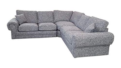 Ethan Large Fabric 5 Seater Corner Sofa - 2 Corner 2 - Grey ...