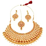 Apsara Art Jewellery Metal Gold Plated and Pearl & Stone Necklace Set With Mang Tika & Earrings for Women & Girls