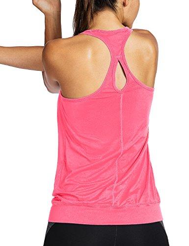 SYROKAN - Camiseta Deportiva de Tirantes Para Mujer Rosado M