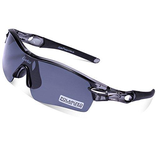Carfia TR90 Rennrad Radbrille Sportbrille Polarisiert Sport Sonnenbrille mit 5 Wechselbare Linsen für Damen Heren Radfahren Laufen - UV400 Schutz (H)