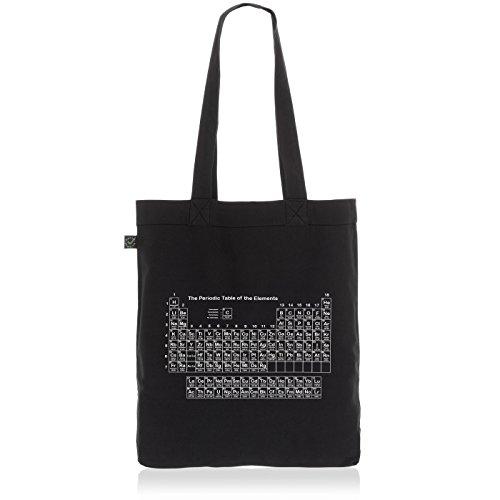 style3 Sheldon Periodensystem Biobaumwolle Beutel Jutebeutel Tasche Tote Bag, Farbe:Schwarz