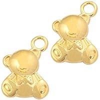 10 Charms Bär Teddy 16mm Anhänger Farbe bronze Metall #585