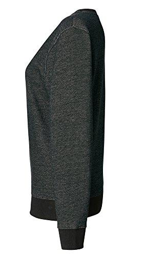 Damen Sweatshirt aus 100% Bio-Baumwolle, Sweatshirt mit tiefem Rundhalsausschnitt und eingesetzten Ärmeln Black Heather
