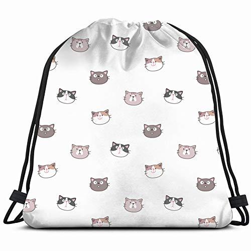 beautiful& Pattern Cartoon cat face Design Animals Wildlife Gym Sack Bag Drawstring Sport Beach Travel Outdoor Backpack for Women 17X14 Inch