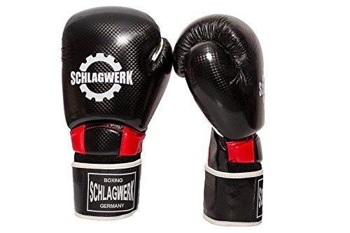 SCHLAGWERK PSC Boxhandschuhe aus Skin-Tex Leder, 8 Unzen im Carbonlook für Männer Frauen Kinder Schwarz/Rot/Weiß (12 Unzen-boxhandschuhe Leder)