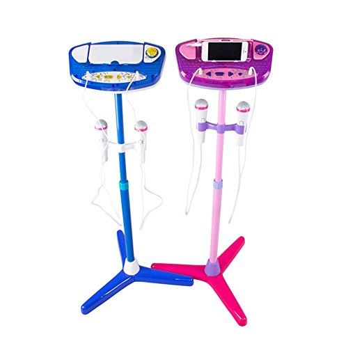 Espeedy Kinder Karaoke Maschine Einstellbare Stand Mit 2 Mikrofone AUX Kabel Kinder Jungen Mädchen Musik Spielen Spielzeug Set