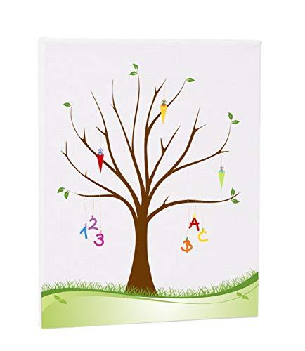 Herzl-Manufaktur Leinwand Schulanfang, Zuckertütenbaum, Fingerabdruckbaum, Gästebuch zur Schuleinführung, Geschenk, Partyspiel, Erinnerungsbaum
