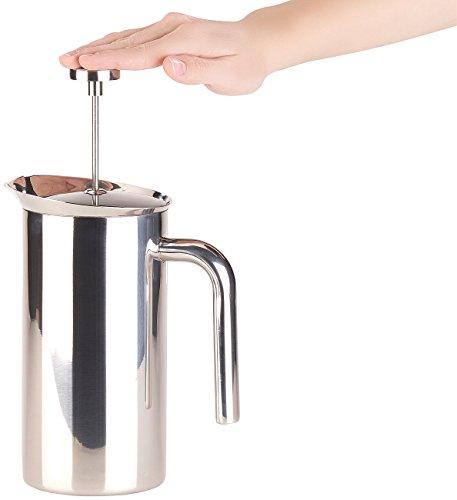 Rosenstein & Söhne Kaffeezubereiter: Thermo-Kaffeebereiter, French-Press, Edelstahl, doppelwandig, 1 Liter (Kaffeekannen)