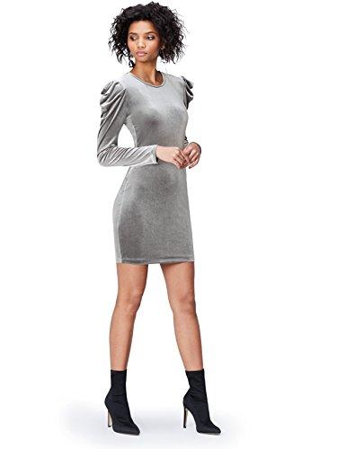 FIND Vestido de Terciopelo para Mujer, Gris (Grey), 48 (Talla del fabricante: 3X-Large)