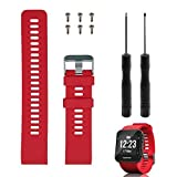 Reemplazo de banda Rukoy para Garmin Forerunner 35, correa de reloj de repuesto de silicona suave para Garmin Forerunner 35 reloj inteligente, ajuste 5.56 '-7.96' (139mm-199mm) muñeca (Rojo)