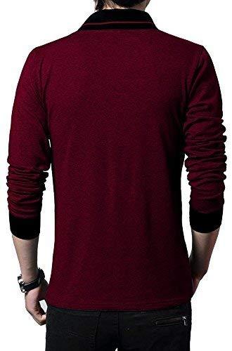 Fashion Gallery Tshirts for Men|V-Neck Tshirts for Mens Full Sleeves|Men's Regular Fit Cotton Tshirt Maroon