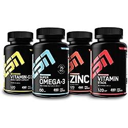 ESN Nahrungsergänzungsmittel Vitamine Pack, Vitamin D3 + Omega 3 + Zink + Multivitamin