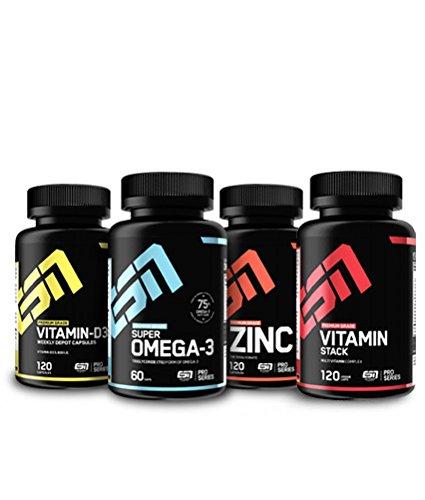 Vitamin Pack (ESN Essential Vitamins & Minerals Pack 2, essentielle Vitamine und Mineralien im Vorteilspack, Direkt vom Hersteller, Zink, Vitamin D3, Omega 3 Fettsäuren, Multivitamin)