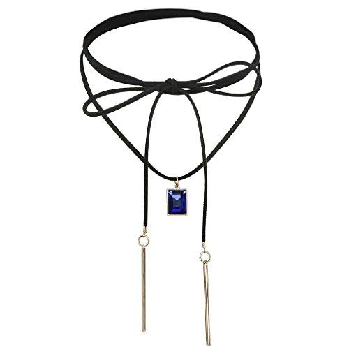 Bishilin Samt Choker Damen Halskette Halsband Lange Fliege Rechteck Zirkonia Gold Blau Halskette Einstellbare Länge (Kostüm Halskette Medallion Gold)