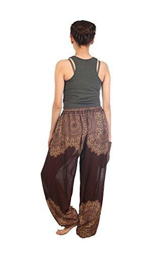 Lofbaz Pantaloni Coulisse da Donna Harem Boemo bohemien Casual Aladdin Spiaggia Peacock 2 Marrone
