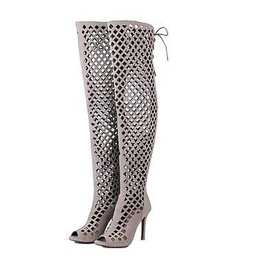 RTRY Scarpe Donna Similpelle Moda Estate Stivali Stivali Stiletto Heel Peep Toe Sopra Il Ginocchio Stivali Per Abito Rosso Marrone Nero Grigio US4-4.5 / EU34 / UK2-2.5 / CN33