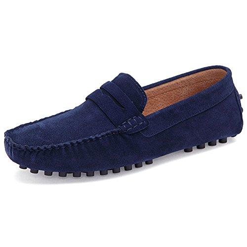 Herren Fahren Schuhe Leder Slipper Loafers fahren Schuhe Casual Boot Schuhe Marineblau