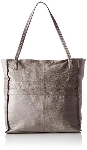 PIECESPCNICOLE LEATHER SHOPPING BAG NEW - Borsa shopper Donna , Grigio (Grau (Elephant Skin)), 34x36x16 cm (B x H x T)