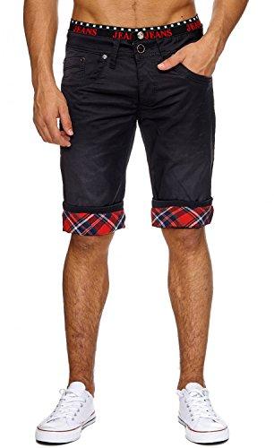 ArizonaShopping - Shorts Jaylvis Herren Bermuda Shorts Kurze Jeans Hose Coated Glen Check Karo Print H1865,Schwarz,W36