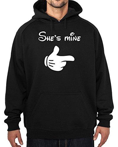 She' s Mine Felpa con cappuccio in cotone nero taglie S-XXL stampati, Black, medium