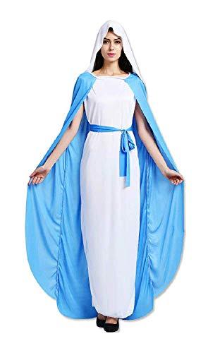 Kostüm Maria Jungfrau Mädchen - Lovelegis Einheitsgröße - Kostüme Jungfrau Maria - Verkleidung Karneval Halloween Cosplay Zubehör Maske - Frau Mädchen - Hellblau und Weiß