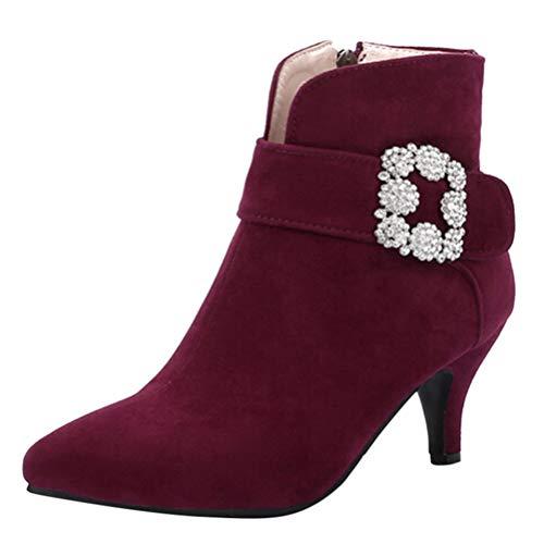 Frauen Wildleder Stiefeletten Spitze Zehe Schnalle-Riemen Mit Blumen High Heels Solide Innen ReißVerschluss DüNne Hohe Schuhe