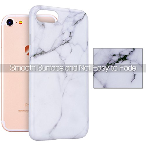 Custodia iPhone 7, RosyHeart Modello Marmo Candy Silicone TPU Morbido Cover per iPhone 7 (4.7 pollici) Elegant Ultra Sottile Copertura Opaco Leggero Gel Bumper Antiurto AntiGraffio Gomma Protettiva Ce Bianca