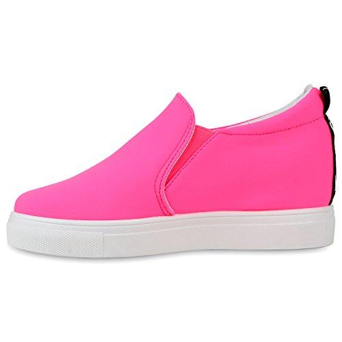 Damen Sneaker-Wedges Neon Schuhe Black & White Keilabsatz Neonpink