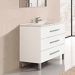 Ducha.es Indus Ensemble de salle de bain avec meuble et plan vasque en céramique 60cm Blanc brillant