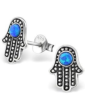*925 Silber Ohrstecker Hamsa Fatimas Hand Symbol Ohrschmuck Opal blau 8x10mm*