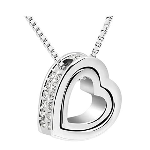 AnaZoz Fashion Jewelry Simple Personality 18K Gold Plated Necklaces& Pendant Platinum Plate Inlay SWA Element Austrian Crystal Heart