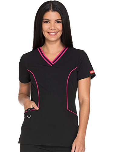 Xtreme Stretch By Dickies Women's V-Neck Solid Scrub Top X-Large Black -