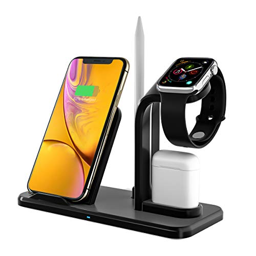 1 Ladestation (Bestrans Fast Wireless Charger 3 in 1 mit Stylus Stift Stand, Wireless Ladegerät Ladestation für AirPods Apple Watch 4/3/2/1, iPhone XS/XS Max/XR/X/8/8 Plus, alle Qi-fähigen Telefone)