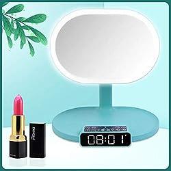 HYwot Miroir Lumineux de Maquillage, Miroir de Maquillage Lumineux LED avec Haut-Parleur Bluetooth et Carte TF, Commutateur à Capteur Tactile, Fonction Réveil et Radio,Bleu