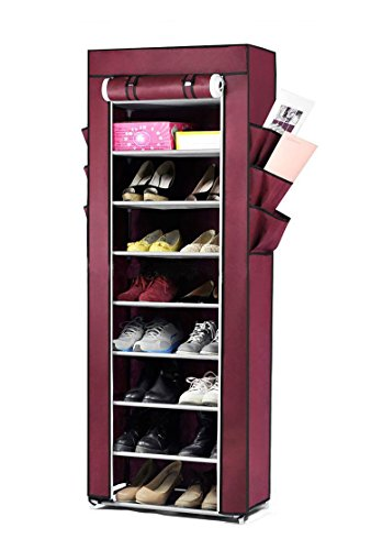 House of Quirk Fancy 9-Layers Fabric Multi-Utility Shoe Rack Organizer (168 cm x 59.99 cm x 30 cm, Maroon)
