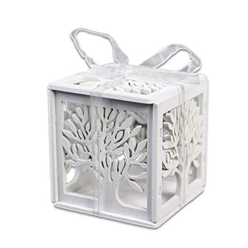 Vetrineinrete® scatoline portaconfetti 24 pezzi albero della vita folto in legno levigato bomboniera segnaposto matrimonio comunione battesimo scatola confetti (bianco)
