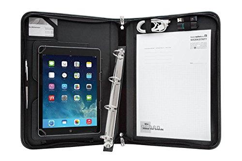 Wedo 5874901 Elegance A4 Organizer (mit Universalhalter für Tablet-PC von 24,6 cm (9,7 Zoll) bis 26,7 cm (10,5 Zoll)) schwarz -