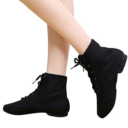 Ballett-stiefel (Leder Jazz Schuhe, Stiefel, weichen Sohlen, Jazz, Ballett Schuhe Schnürsenkel, Männer und Frauen Leinwand Körper, Aerobic Schuhe, 39, Schwarz Canvas Schuhe)