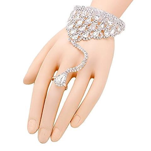 Rosemarie Kollektionen Damen Kristall Tropfenform Slave Armband Hand Kette