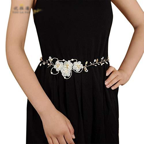 Matilda530 Bride Gurt-Blumen-Frischwasser wahre Perle Braut-Accessoires Bauchkette (Farbe : Lila)