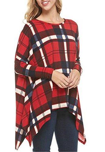 Aivosen Maglie A Manica Lunga Plaid Donna Taglie Forti T Shirt Vintage Eleganti Basic Orlo Irregolare Blusa Camicia Tunica Allentato Red