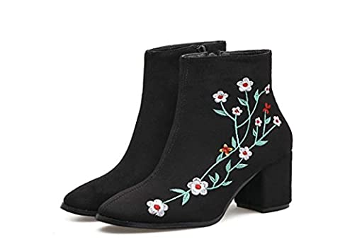 Women Classic Short Boot Cone Heel Chinese Wind Embroidery Ankle Boot Warm Chelsea Boots Winter Boot ( Color : Black , Size : 35 )