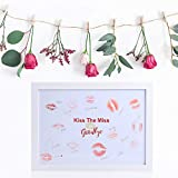 Auihiay Hen Party Keepsake Frame - Kiss The Miss Goodbye - Wedding Guestbook White A4 Frame with Pen for Bride Can Be Hung The Wall
