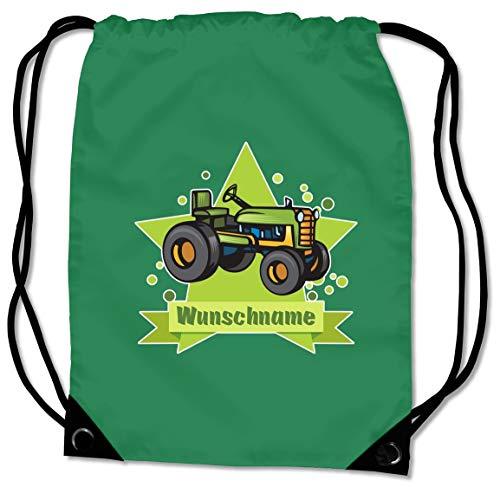 Samunshi® Turnbeutel mit Altem Trecker und Name für Jungen und Mädchen personalisierbar personalisiert mit Namen Sportbeutel für Schule Sport Sporttasche grün