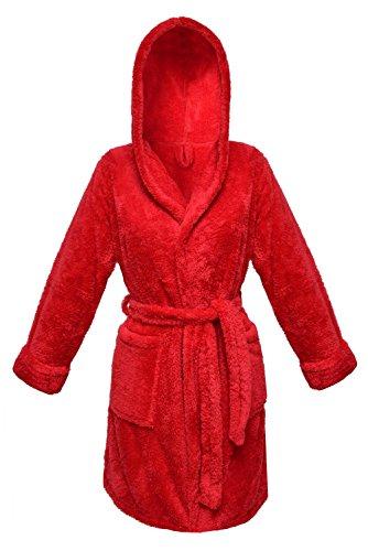 Postero PN101 - Peignoir à capuche - Court 90 cm - effet peluche Rouge