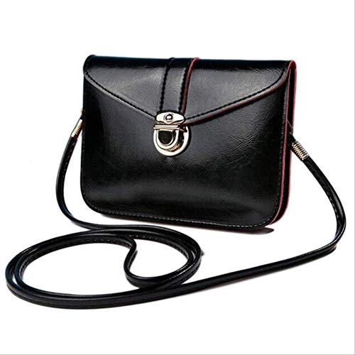 AMVBF Frauen Messenger Bags Vintage Style Pu Leder Handtasche Sweet Cute Cross Body Handtaschen Clutch Messenger BagsSchwarz -