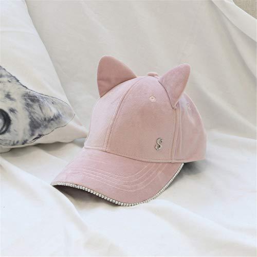 LLCP Katzenohr Rhinestone Baseball-Kappe, männliche und weibliche Alphabet Samt Feste Farbkappe im Freien Sport warm atmungsaktive Hut,Pink