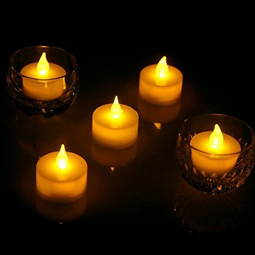 fourHeart LED Weihnachten Kerzen D36 x H36 MM (12er Set) Teelichter flammenlose Fest Licht Beleuchtung mit Flackereffekt batteriebetrieben, perfekt für Parties, Konzerte Hochzeit, Geburtstag und Festivals wie Halloween und Weihnachten entworfen - warm Gelb - 5