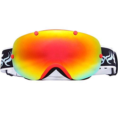 Große Spherical Lens Skibrille Double Lens UV400Anti-Fog Ski Ski Snowboard Brille Sonnenbrille für Männer und Frauen Low Light, rot
