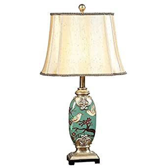 Legely Environmental Painted Resin Table Lamp Vintage Flower Bird Light Living Room Bedroom